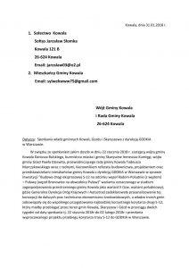 pismo dotyczące spotkania władz gminnych Kowali, Gozdu i Skaryszewa z dyrekcją GDDKiA