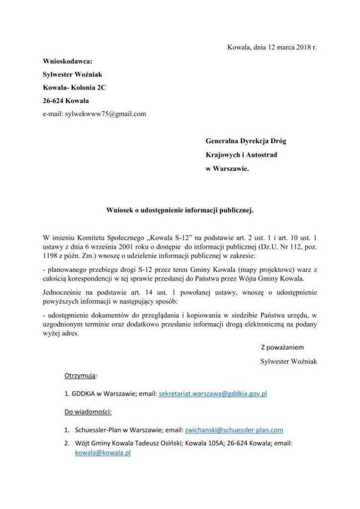 Wniosek o udostępnienie informacji publicznej