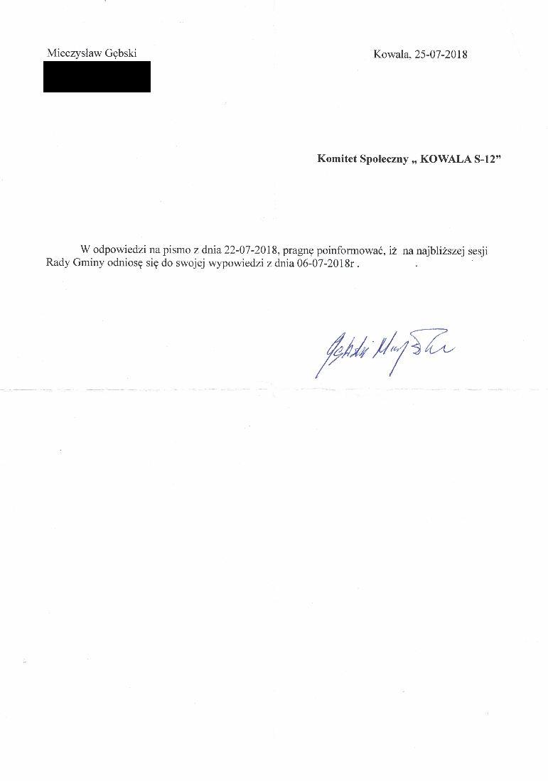 Odpowiedź radnego Mieczysława Gębskiego