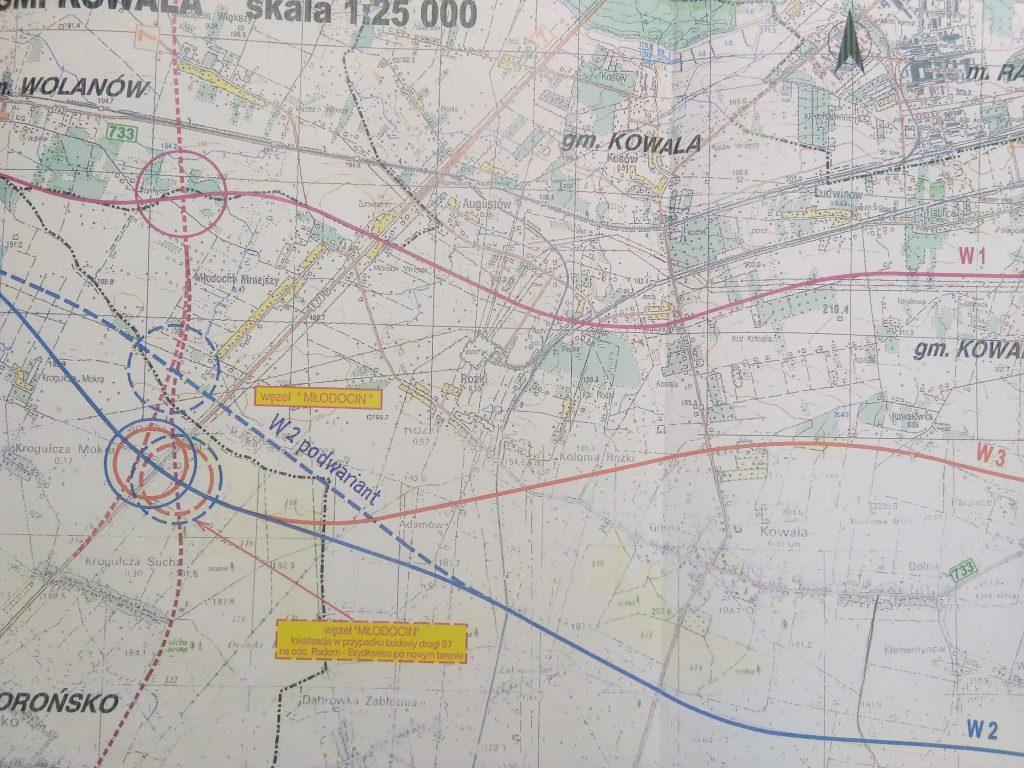 Studium uwarunkowań i kierunków zagospodarowania przestrzennego Gminy Kowala z 2001 r.- mapa