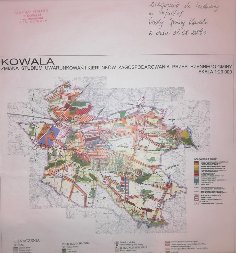 Zmiana studium uwarunkowań i kierunków zagospodarowania przestrzennego gminy Kowala z 2009 r.- mapa